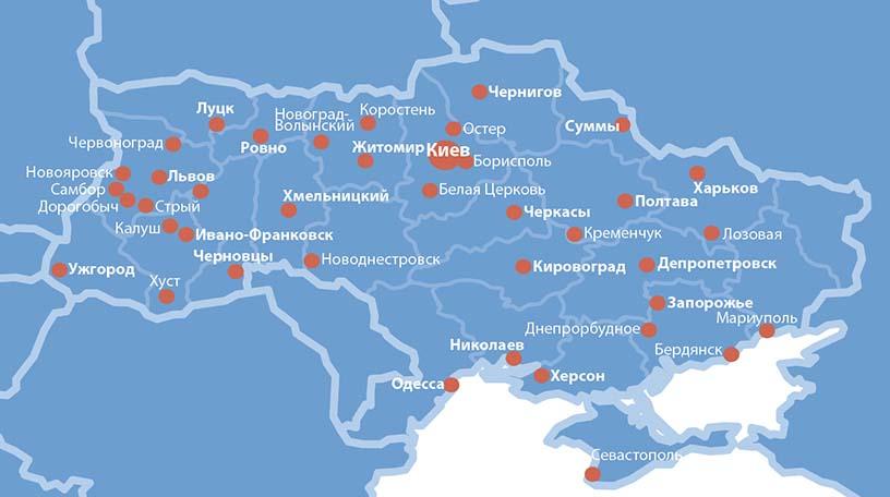 продукция КИЕВЛИФТ карта покрітия #