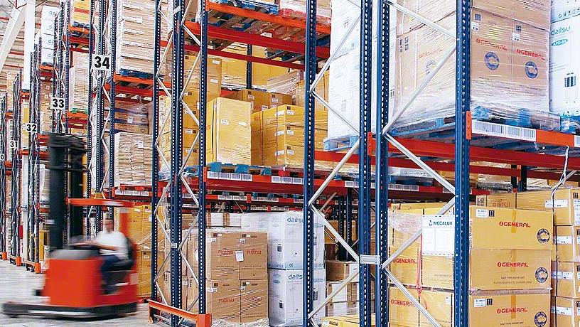 организация склада, стеллажи фронтальные